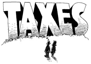 two people looking at Taxes